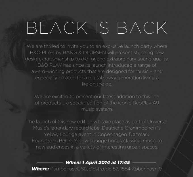 BLACK IS BACK- Launch Party Invitation